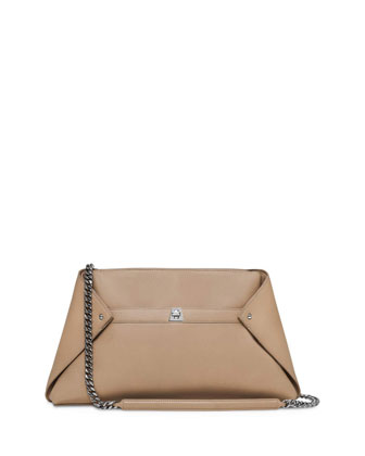 Ai Medium Leather Pochette Bag, Beige
