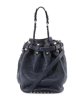 Diego Studded Bucket Bag, Navy