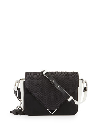 Prisma Snakeskin & Leather Crossbody Bag, Black/White