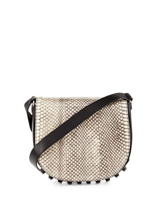 Lia Snakeskin Studded Saddle Bag, Black/White