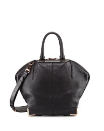 Emile Pebbled Leather Angled Tote Bag, Black