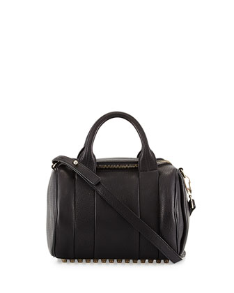 Rockie Dumbo Slick Small Crossbody Satchel, Black