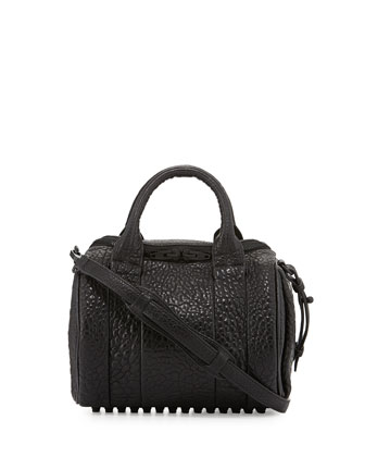 Rockie Pebbled Small Crossbody Satchel, Black