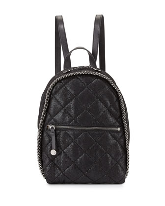 Mini Falabella Quilted Backpack, Black