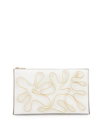 Cavendish Faux-Napa Zipper Clutch Bag, White