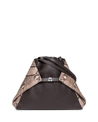 Ai Python & Leather Medium Shoulder Bag, Brown