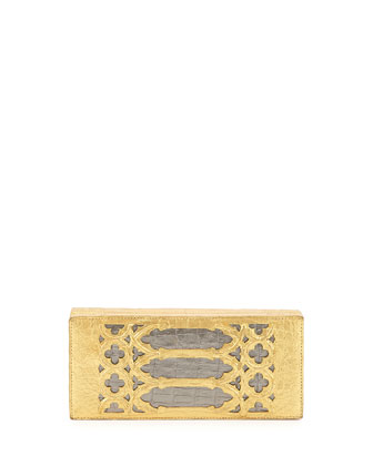 Venetian Laser-Cut Crocodile Box Clutch, Gold