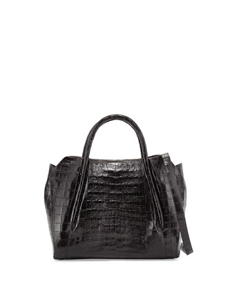 Medium Crocodile Horseshoe Tote Bag, Black