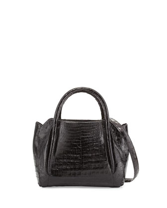 Small Crocodile Horseshoe Tote Bag, Black