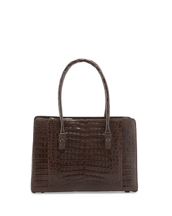 Small Worker Bee Crocodile Tote Bag, Chocolate