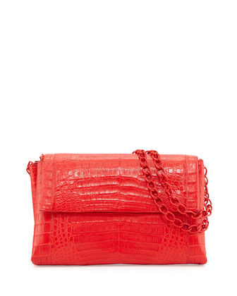 Large Crocodile Double-Chain Shoulder Bag, Red