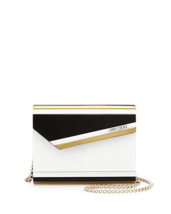 Candy Striped Acrylic Crossbody Bag, Black/White