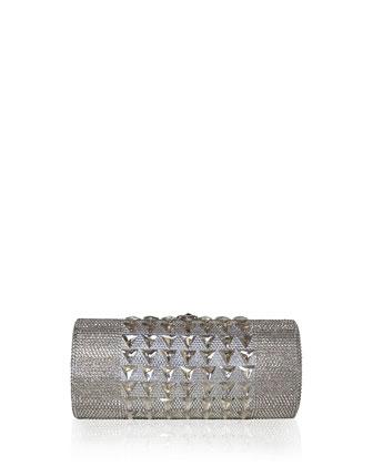 Crystal Cylinder Minaudiere, Silver