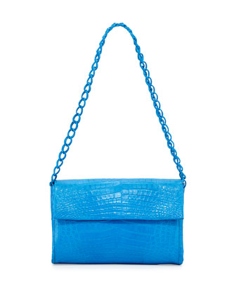 Medium Crocodile Double-Chain Shoulder Bag, Ocean