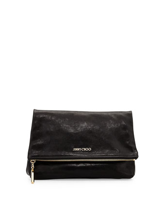 Nyla Fold-Over Leather Clutch Bag, Black