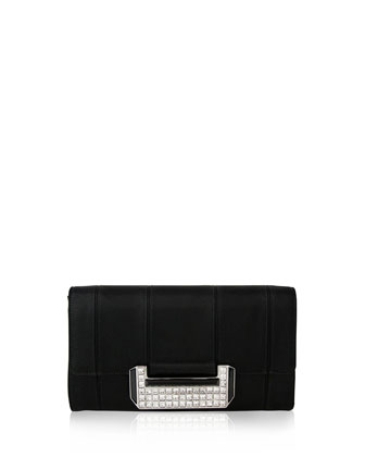 Nina Satin Crystal Clutch, Black
