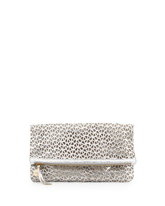 Laser-Cut Leather Fold-Over Clutch, Silver/Natural