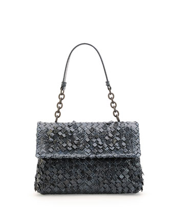 Olimpia Woven Snakeskin Shoulder Bag, Navy