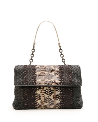 Olimpia Medium Watersnake & Leather Shoulder Bag, Black/Brown