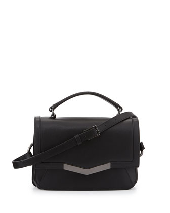 Helene Micro Calfskin Crossbody Bag, Black
