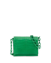 Small Crocodile Chain Crossbody Bag, Green