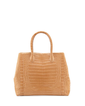 Crocodile Weekend Tote Bag, Beige