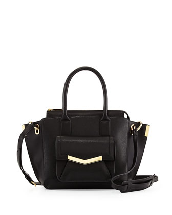 Jo Mini Saffiano Leather Tote Bag, Black