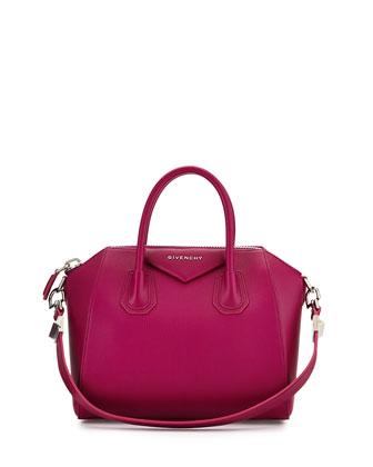 Antigona Small Leather Satchel Bag, Purple
