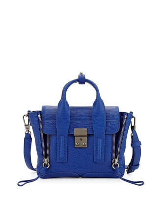 Pashli Mini Leather Satchel Bag, Cobalt