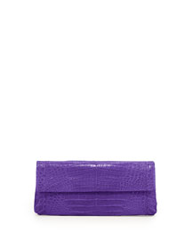 Back-Pocket Crocodile Clutch Bag, Purple