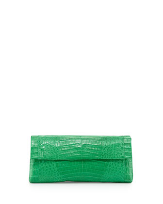 Back-Pocket Crocodile Clutch Bag, Green