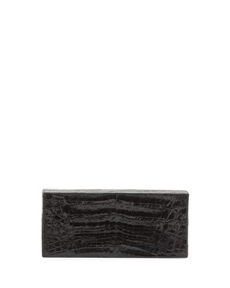 Large Crocodile Box Clutch Bag, Black