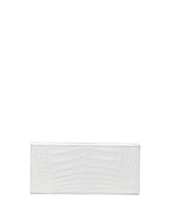 Large Crocodile Box Clutch Bag, White