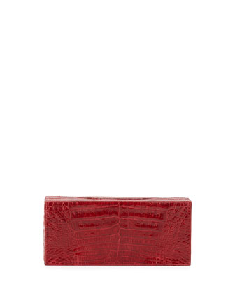 Large Crocodile Box Clutch Bag, Red