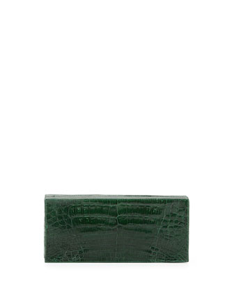 Large Crocodile Box Clutch Bag, Green