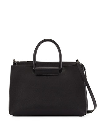 Classic 5 Pebbled Leather Tote Bag, Black