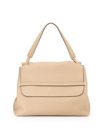 Top Handle 14 Grained Leather Satchel Bag, Taupe