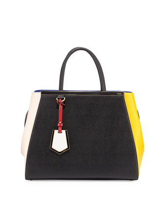 2Jours Colorblock Shopping Tote Bag, Black