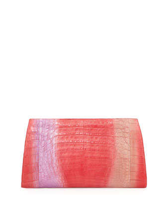 Crocodile Razor Ombre Clutch, Red