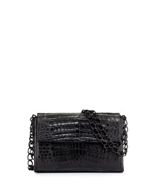 Small Crocodile Double-Chain Shoulder Bag, Black