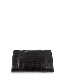 Razor Crocodile Clutch Bag, Black