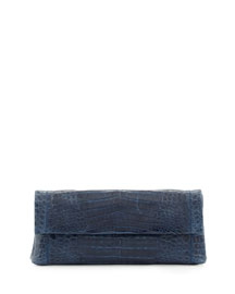 Flap Crocodile Clutch Bag, Navy