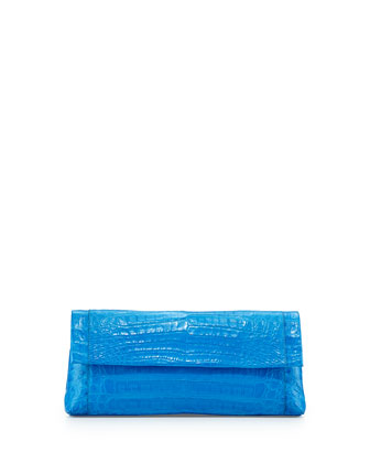 Back-Pocket Crocodile Clutch Bag, Blue