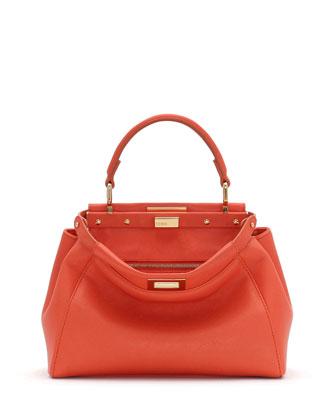 Peekaboo Mini Satchel Bag, Orange