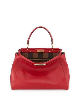 Peekaboo Pequin Bicolor Satchel Bag, Red