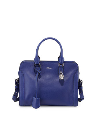 Small Skull Padlock Leather Satchel, Blue