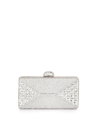 Fanciful Pyramid-Faceted Pave Crystal Clutch, Silvertone