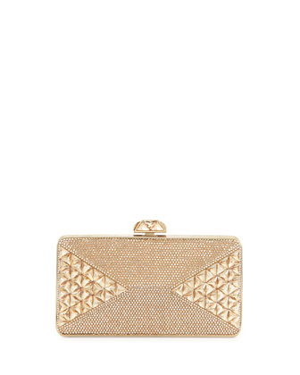 Fanciful Pyramid-Faceted Pave Crystal Clutch, Champagne