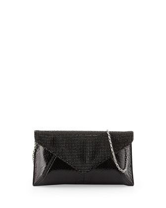 Samantha Glossy Snakeskin Crystal Clutch Bag, Black
