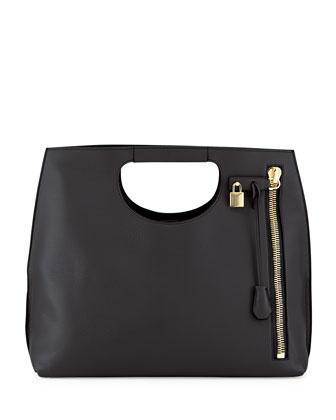 Alix Zip & Padlock Shopper Tote Bag, Black